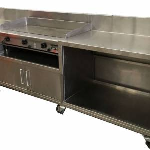 Photo of GOLDSTEIN GAS GRIDDLE ON MOBILE STAINLESS CABINET.