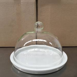 Photo of PORCELAIN CHEESE PLATE WITH GLASS DOME COVER