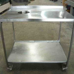 Photo of MOBILE STAINLESS STEEL PREP BENCH WITH SCRAPS HOLE